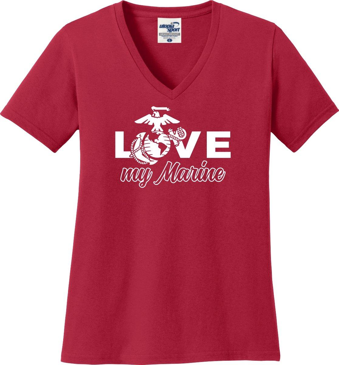 Love My Marine Ladies V-Neck T-Shirt (S-3X) (Medium, Red)