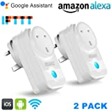 Smart Plug, SZMDLX WiFi Plug Smart Socket Works with Alexa Google Assistant Support IFTTT, Remote Control Sockets Timer Plug No Hub Required (2 Pack)