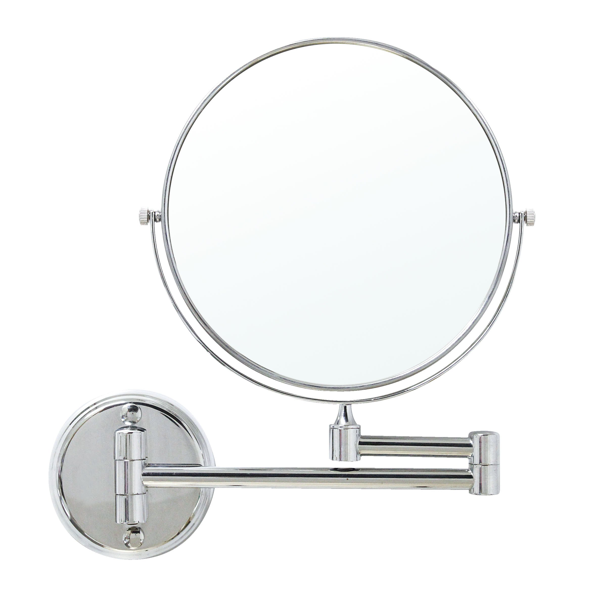 MODONA 8'' Two-Sided 1X and 5X Wall-Mounted Mirror, Made of Brass - Polished Chrome
