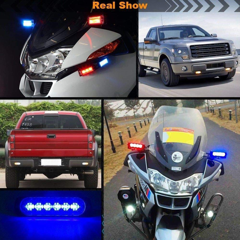 DIBMS 8x Red White 6 LED Side Strobe Warning Hazard Flashing Emergency Caution Construction Light Bar for Car Off road vehicle ATVs truck engineering vehicles