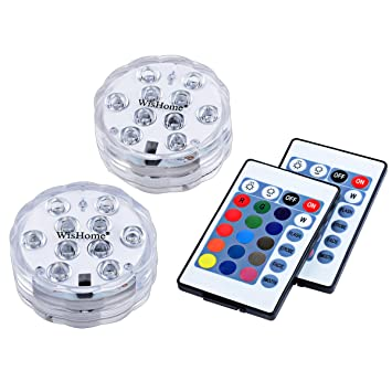 WisHome Waterproof Battery Operated Submersible LED Lights Multicolored RGB  Color Changing Underwater Pool Lights With Remote