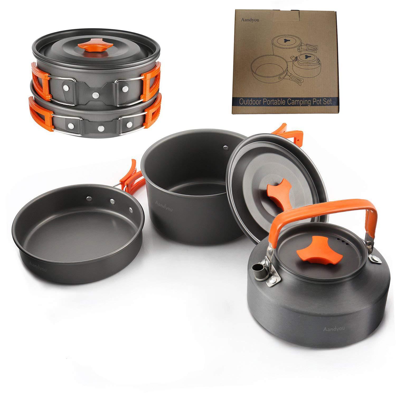 Aandyou camping Cocina Set Aluminio camping Acero Inoxidable ...
