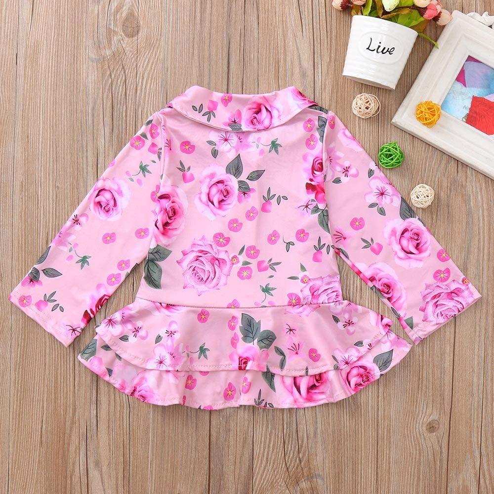 Dream/_mimi Fashion Baby Girls Long Sleeve Rose Flower Printing O-Neck Casual Zipper Tops