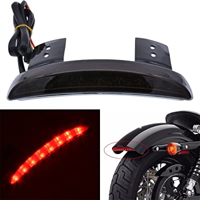 KATUR Smoke Chopped Fender Edge Motorcycle 8 LED RED Stop Running Brake Rear Tail Light for Harley Sportster XL 883N 1200N XL1200V XL1200X: Automotive