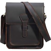 """TIDING Genuine Leather Crossbody Messenger Bag for Men Small Retro Flap Shoulder Bag fits 10"""" Tablet"""