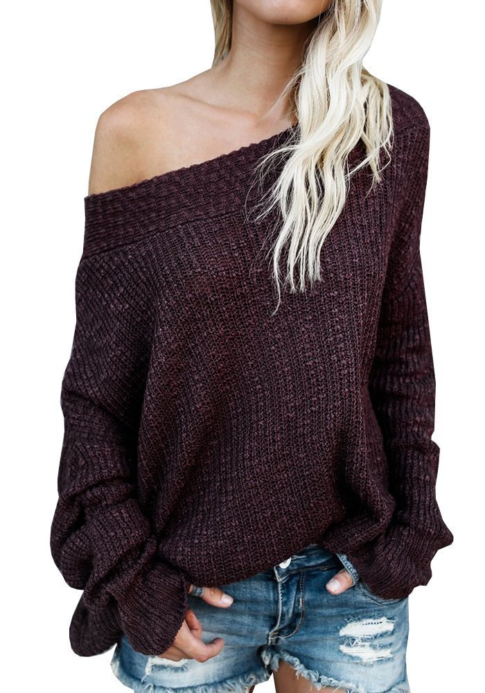 Women Off The Shoulder Batwing Long Sleeve Knit Loose Oversized Pullover Sweaters