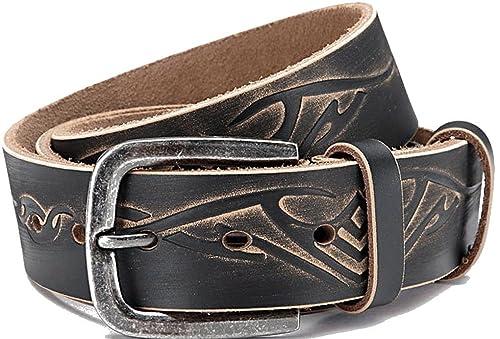 Cintura in crosta di pelle rivestito, Jeans cintura, unisex, Larghezza: 3,8 cm, Fibbia: 5,5 x 5,4 cm