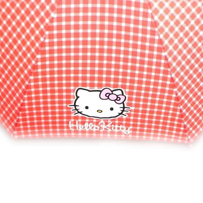 Paraguas bastón Hello Kitty rojo de algodón barato.