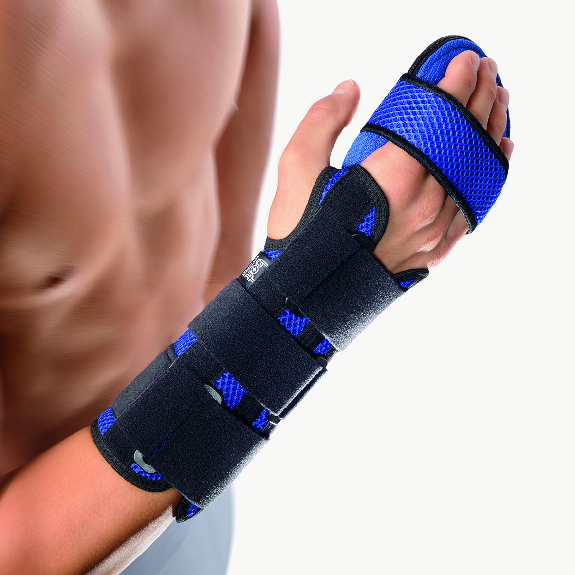 Bort Soft Hand Splint Brace with Finger Support Carpal Tunne Night Wrist Splint Support Immobilizer Finger Wrist Fracture Fixation Scaffold for Pain Tendinitis Sprain - MD, R, BLUE, 6.7'' - 7.5'' inches
