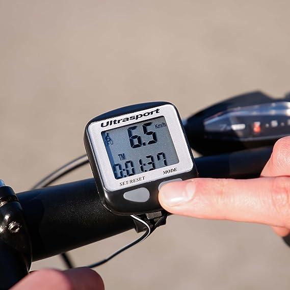 Ultrasport Computadora de Bicicleta con Cable, Resistente al Agua y fácil de Montar, Mide la Velocidad, la Distancia, Las calorías, el Suministro Incluye Material de Montaje y Accesorios: Amazon.es: Deportes y aire