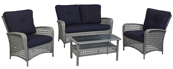 Amazon.com: Cosco Outdoor Conversation Set con cojines y ...