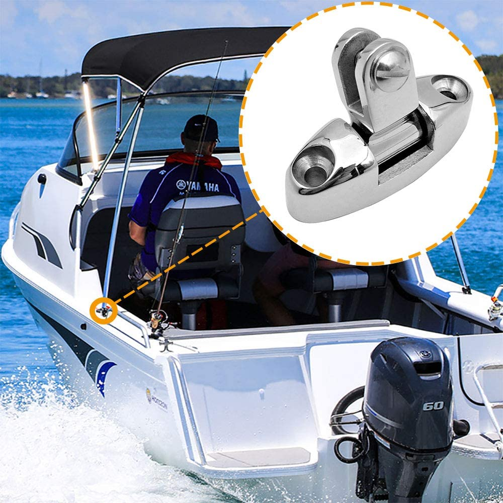 Amadget 2 Pcs Boat Top Bimini Deck Hinge Swivel Side Mount 316 Stainless Steel with Rubber Pad and Screws