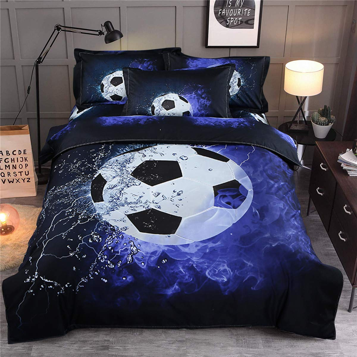 "Guidear Blue Flame Soccer Bedding Set for Children Boys,3D Printed Football Quilt Cover Set with 2 Pillowcases,Fire and Ice Duvet Cover with Zipper Closure Queen Size 90"" X 90"""
