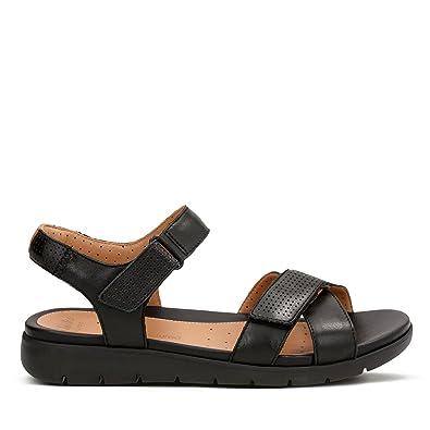dcda80ec7629 Clarks Un Saffron Leather Sandals in Black Wide Fit Size 7½  Amazon ...