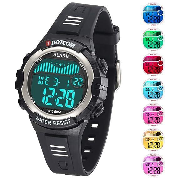 Relojs Digital para Niños, Reloj Deportivo para Niños 5 ATM Resistente al Agua / 7 Luces de Fondo Coloridas/con Alarma/Temporizador/Cronómetro, ...