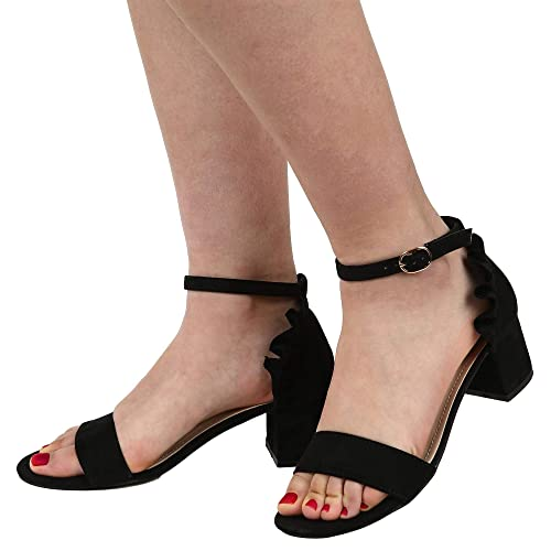 5d8e3aff97f Image Unavailable. Image not available for. Color  Womens Open Toe Single  Band Dress Pumps Shoes Block Low Mid Heels Sandals with Ankle Strap