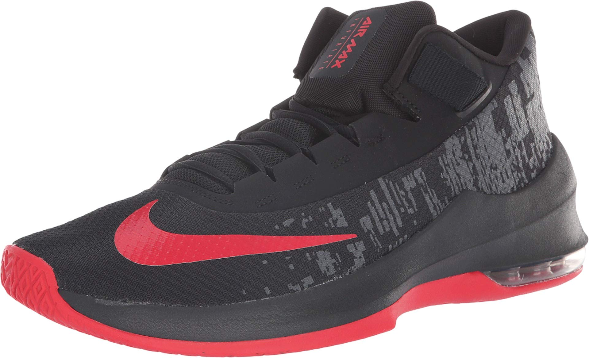 Nike Men's Air Max Infuriate 2 Mid Basketball Shoe Black/University Red/Anthracite Size 13 M US by Nike