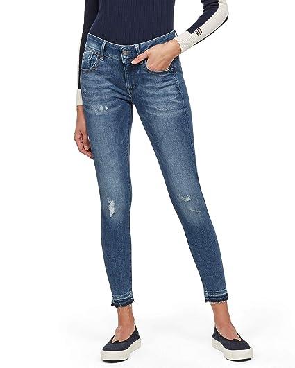 G Star Raw Damen Lynn Mid Waist Skinny Ripped Jeans