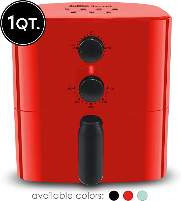 Maxi-Matic Elite Gourmet EAF-3218R Personal Compact Space Saving Electric Hot Air Fryer Oil-Less Healthy Cooker, Timer & Temperature Controls, PFOA/PTFE Free, 700-Watts with Recipes, 1 Quart, Red