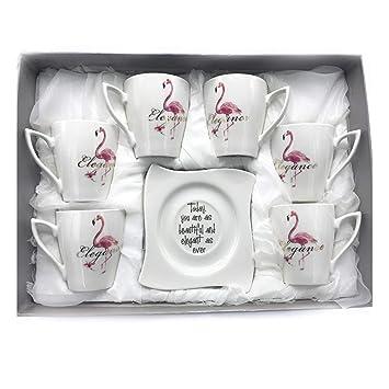 INTIGNIS Porsche - Juego de 6 tazas de café y platillos de porcelana, diseño de cerveza de Versace Tea Cups plata: Amazon.es: Hogar