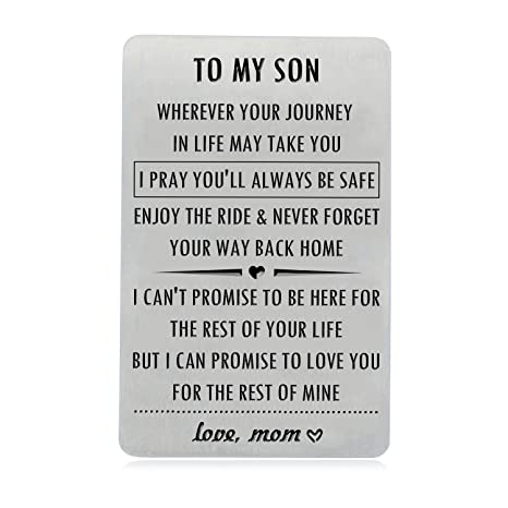 Son Gifts from Mom, Engraved Wallet Inserts with Inspirational Quotes,  Christmas Birthday Wedding Graduation Sweet 16 Gift Ideas