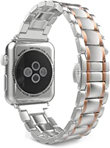 Seinit Stainless Steel Watch Band Replacement Strap Compatible with Apple Watch Series 6/5/4/3/2/1 44mm/42mm, Rose Gold