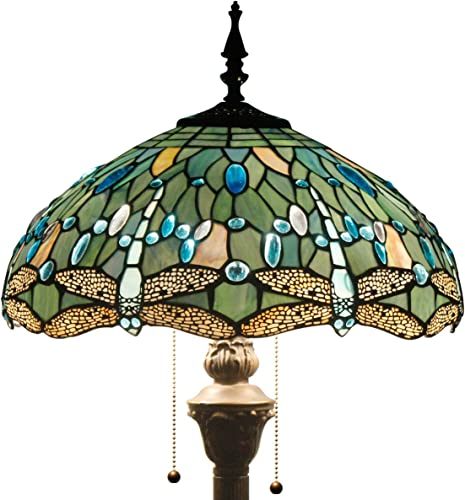 Tiffany Floor Standing Lamp W16H64 Inch Tall Sea Blue Stained Glass Crystal Bead Dragonfly Style Shade 2E26 Antique Lighting Resin Base S147 WERFACTORY Lamps Bedroom Living Room Bookcase Lover Gift