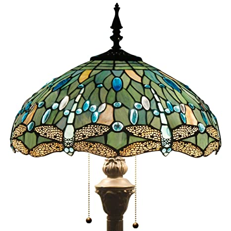 Captivating Tiffany Style Floor Standing Lamp 64 Inch Tall Sea Blue Stained Glass Shade  Crystal Bead Dragonfly