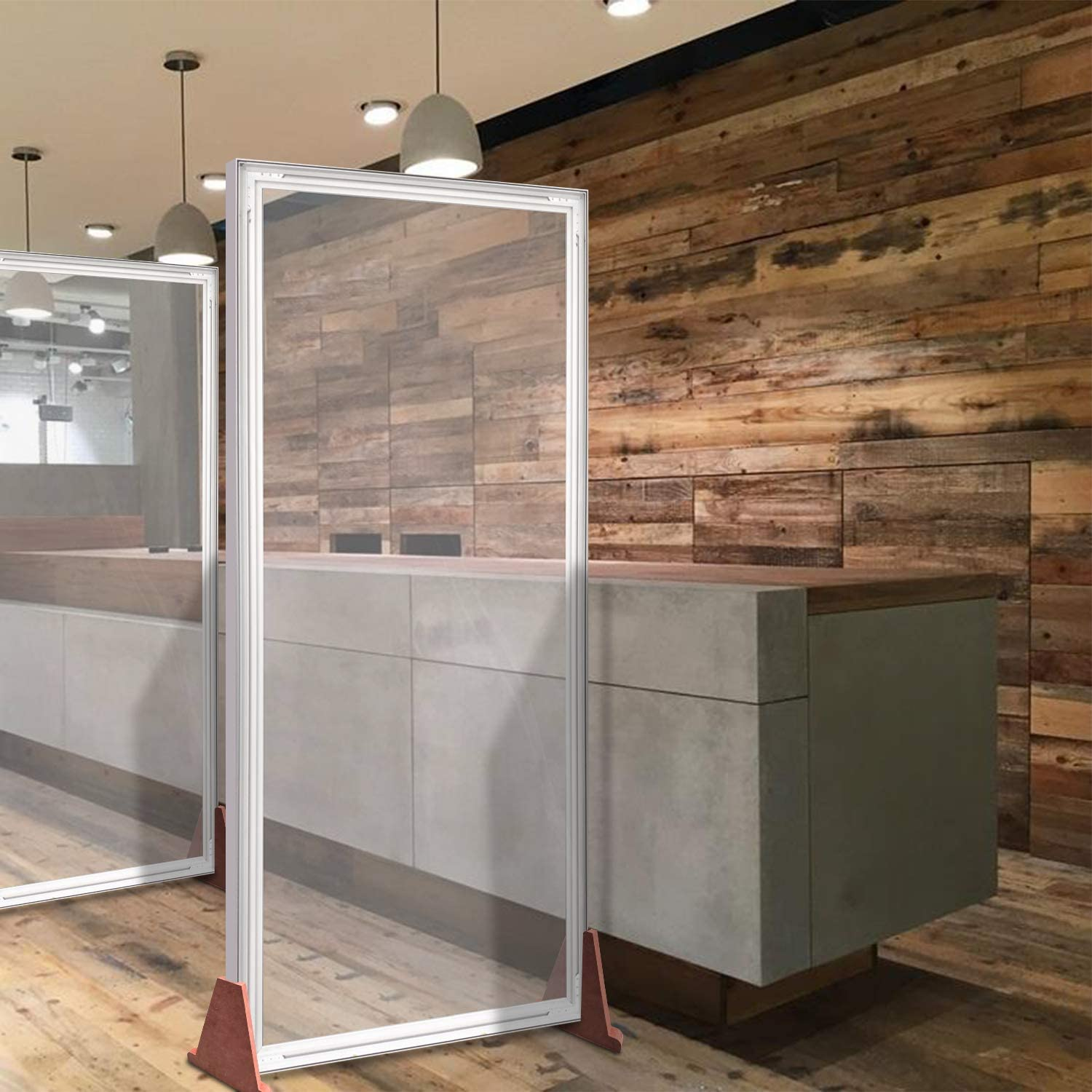 Floor Standing Sneeze Guard - Clear Vinyl with SEG Banner Stands Isolation Barrier - Protective Screen Shield for Office, Cafes, Retail Stores, Cashier, Receptionist (4 X 6.5 Ft)