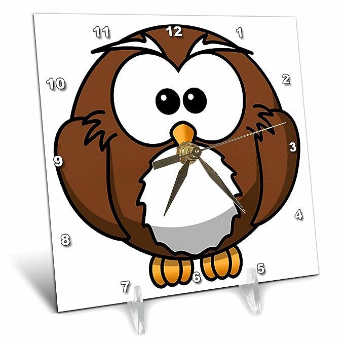 dc/_40783/_1 Cute Baby Cartoon Owl 3dRose Florene Childrens Art 6x6 Desk Clock