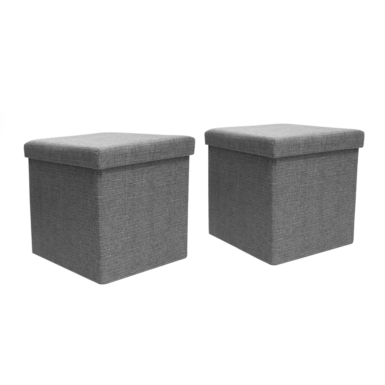 FHE Group Folding Storage Ottomans with Hard Lids - 16 by 16 by 16 Inches - Gray - Set of 2