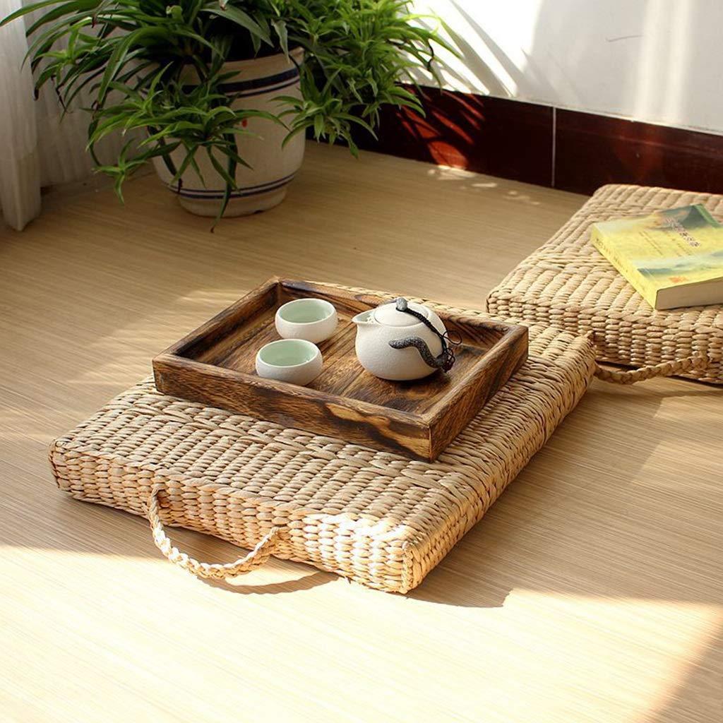 RXY-Wicker chair Japanese Rectangular Rattan Belt Handle Plant Health Cushion Living Room Sofa Breathable Tatami Mat (Size : 50cm)