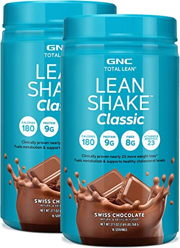 GNC Total Lean Lean Shake Classic Protein Powder – Swiss Chocolate, Twin Pack, 16 Servings per Bottle, Supports Weight Loss