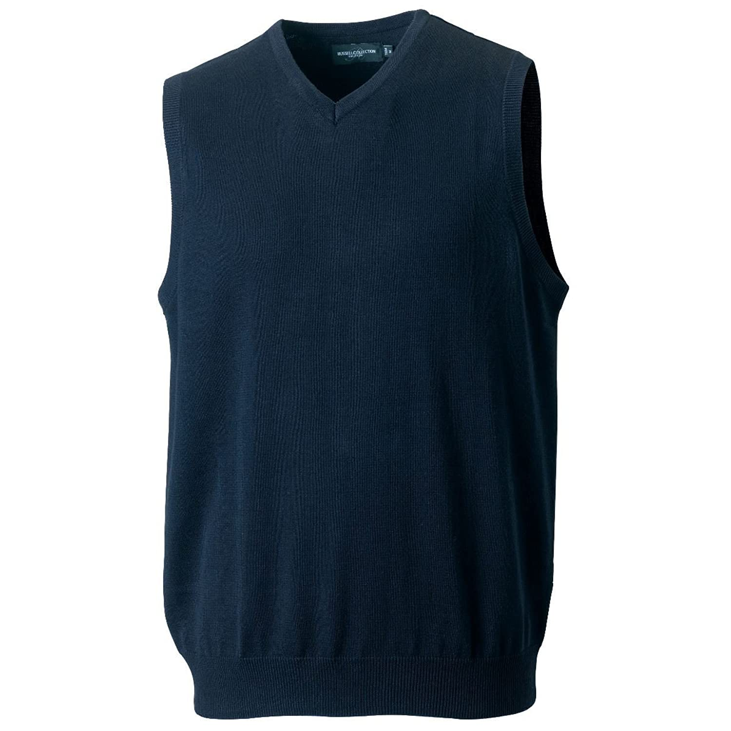 Russell 716M Mens V Neck Sleeveless Knitted Pullover Sweater French Navy XS