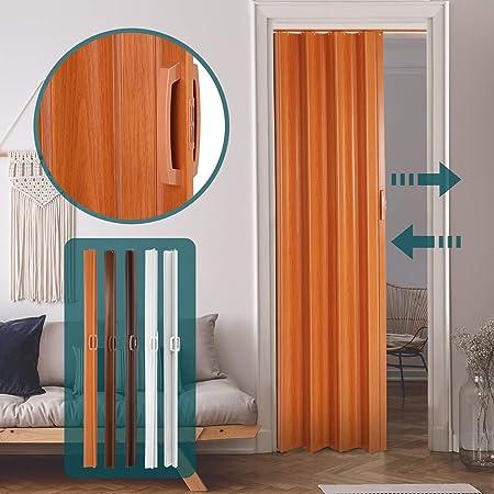 Jago - Puerta plegadiza - Puerta de fuelle fabricada en PVC (cloruro de polivinilo) - Puerta plegadiza de una sola hoja - Medidas84 x 8 x 202 cm - Color cerezo: Amazon.es: Bricolaje y herramientas