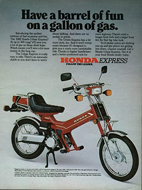 MAGAZINE ADVERTISEMENT For 1982 Honda Express Moped Have A Barrel of Fun