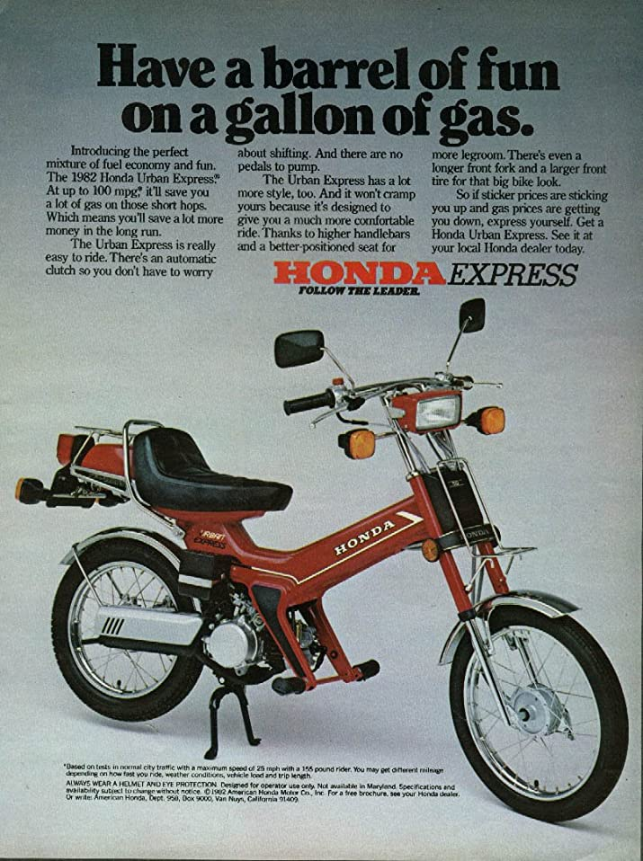 MAGAZINE ADVERTISEMENT For 1982 Honda Express Moped Have A Barrel of Fun at Amazons Entertainment Collectibles Store