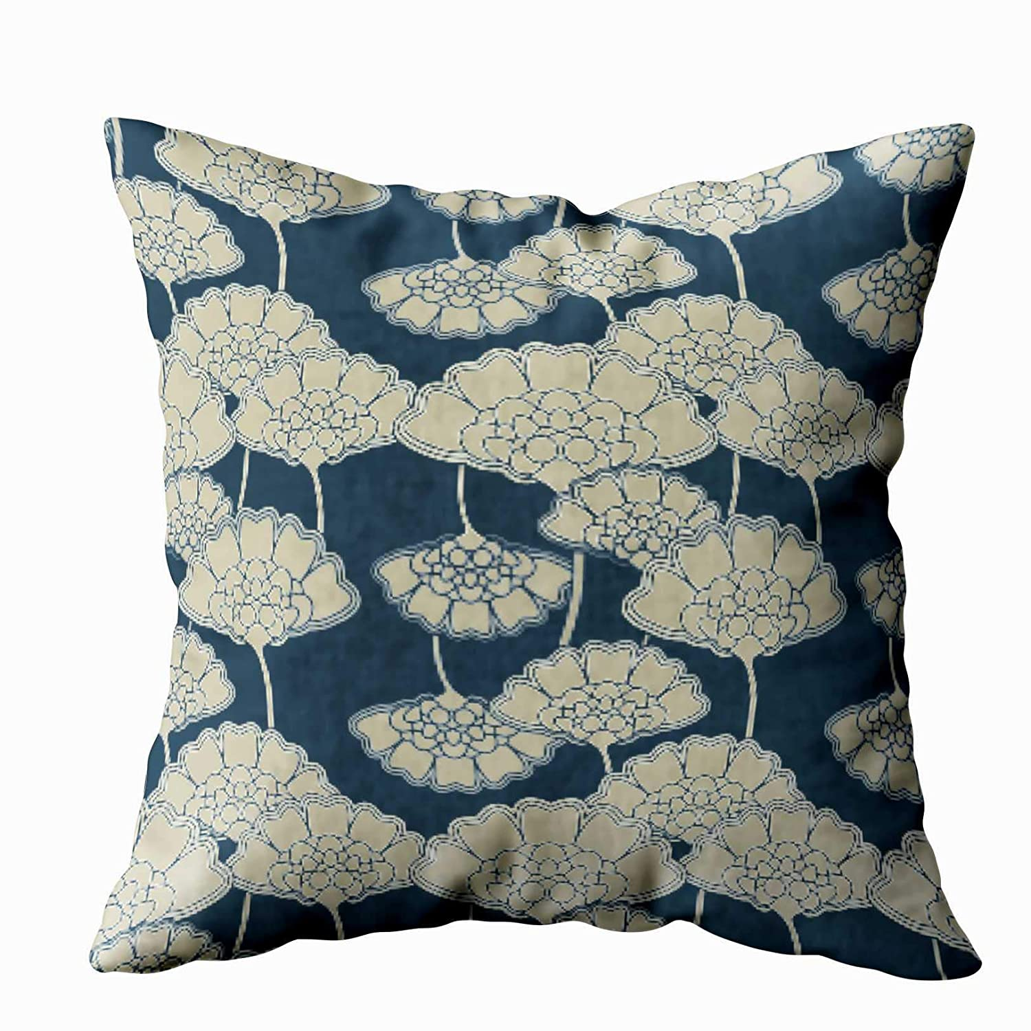 Shorping Sofa Pillow Cases, Zippered Covers Pillowcases 16X16Inch Throw Pillow Covers Japan Blue Floral Flowers Outdoor Pillow for Home Sofa Bedding