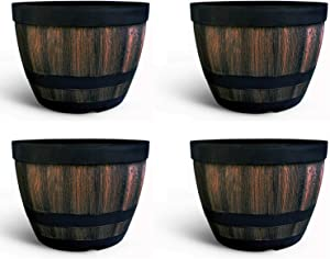 Flower Pots Outdoor Indoor Garden Planters,Plant Containers with Drain Hole, Ideal for Plants,Gardens, Patios, Imitation Wooden Barrel Design-9 Inch Wine Barrel Basin??4 Piece?