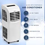 DELLA 8,000 BTU Portable Air Conditioner | Cooling Fan | Dehumidifier | A/C Remote Control | Window Vent Kit | White