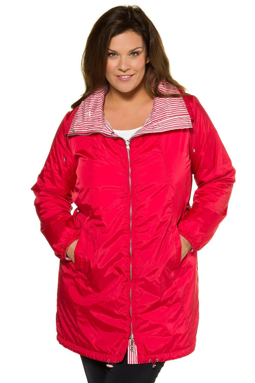 Ulla Popken Women's Plus Size Reversible Stripe Waterproof Jacket Red 12/14 714533 51 by Ulla Popken (Image #1)