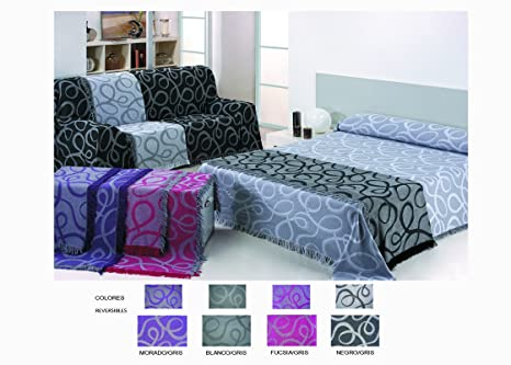 Colcha Foulard Multiusos Jacquard modelo Nudos para sofá y para cama, Algodón-Poliéster, 180x280 cms. Negro-Gris. Colores reversibles.