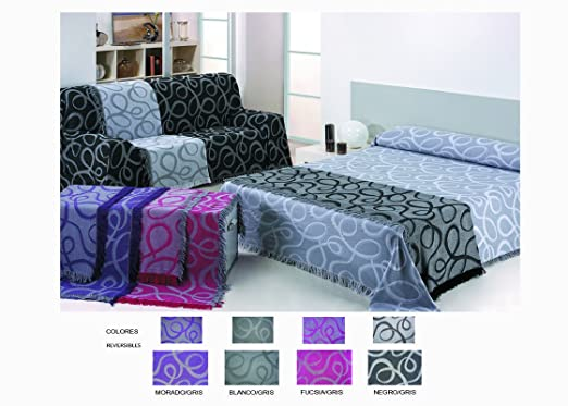 Colcha Foulard Multiusos Jacquard modelo Nudos para sofá y para cama, Algodón-Poliéster, 1 plaza. Blanco-Gris. Colores reversibles.