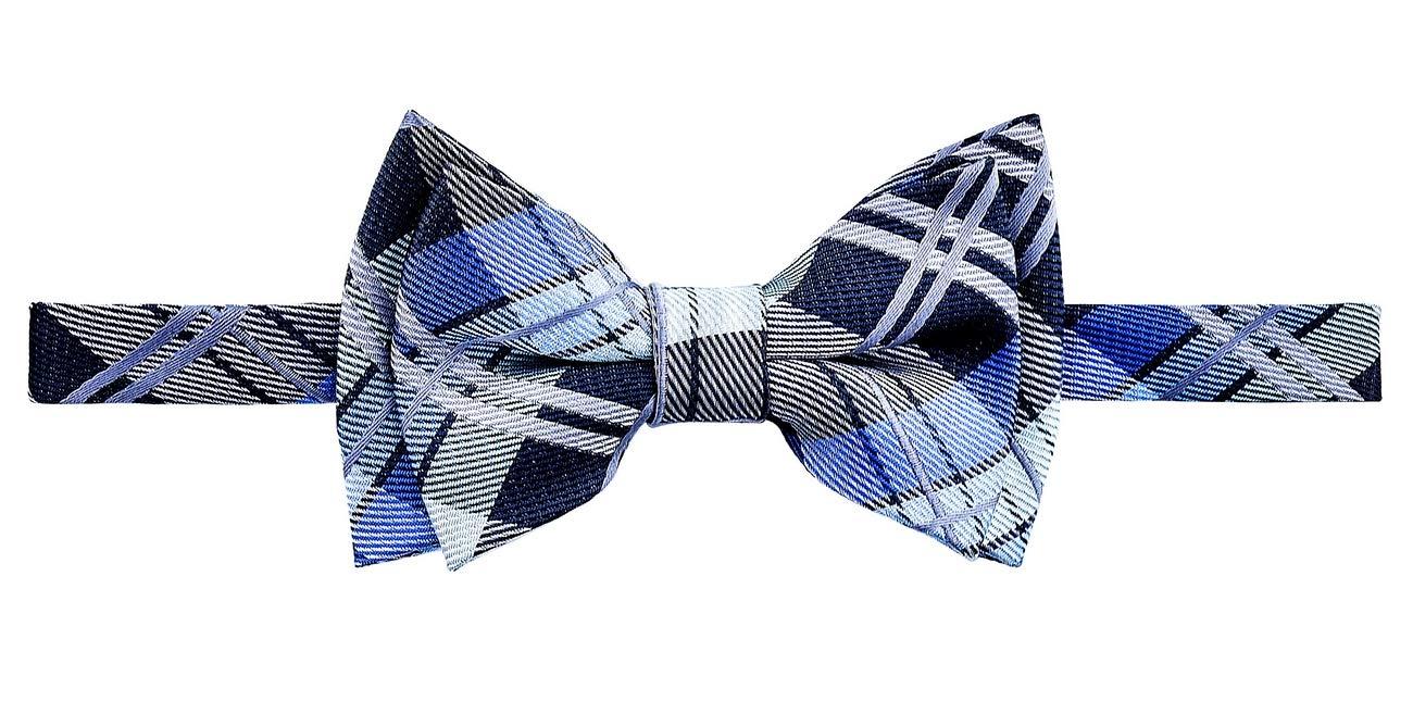 Retreez Elegant Tartan Plaid Check Woven Microfiber Pre-tied Boy's Bow Tie - Dark Grey and Blue - 8-10 years by Retreez