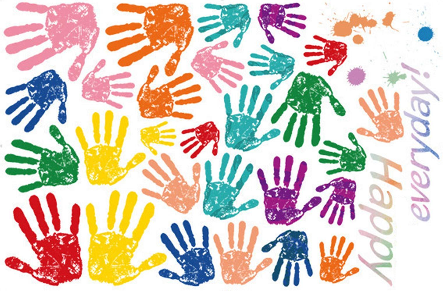 Emoyi 52 pcs DIY Handprints Primary Color Wall Sticker Art Decal Set Kids Rooms Bedroom