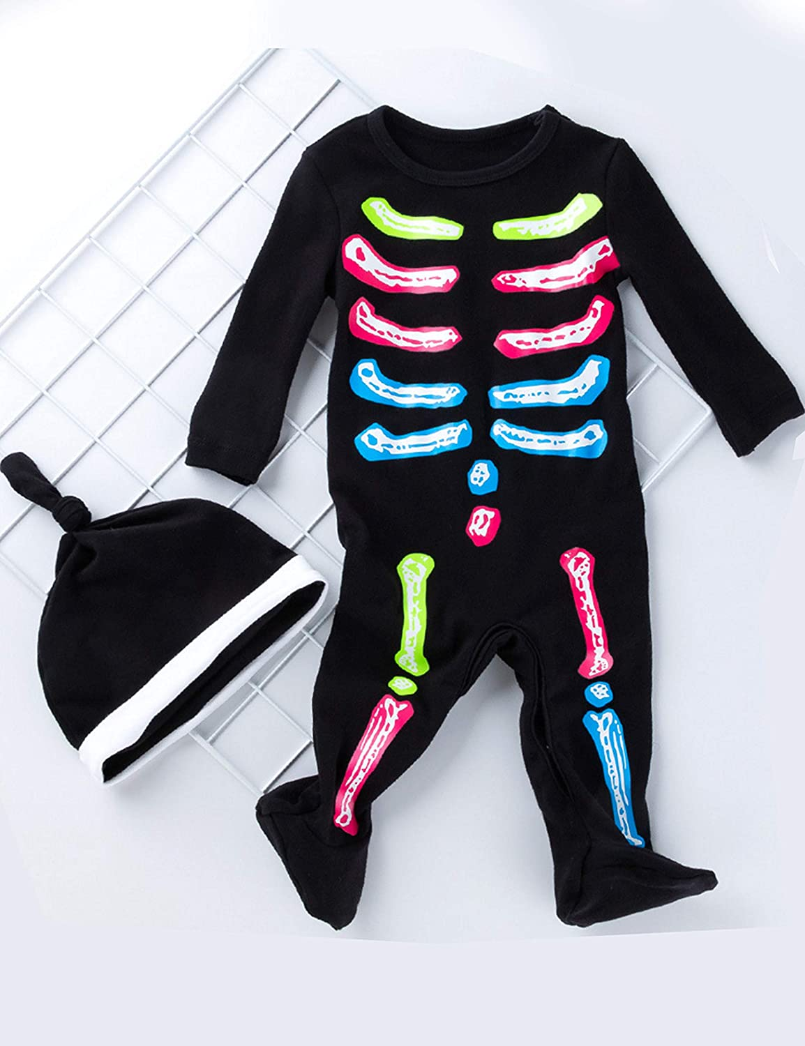 YuDanae Skull Bone Skeleton Romper Outfit Scary Halloween Costume for Toddler Baby Boys Girls 3-18 Months