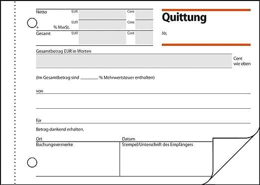 6 x Quittungsblock Quittungsbeleg selbstdurchschreibend Quittung A6