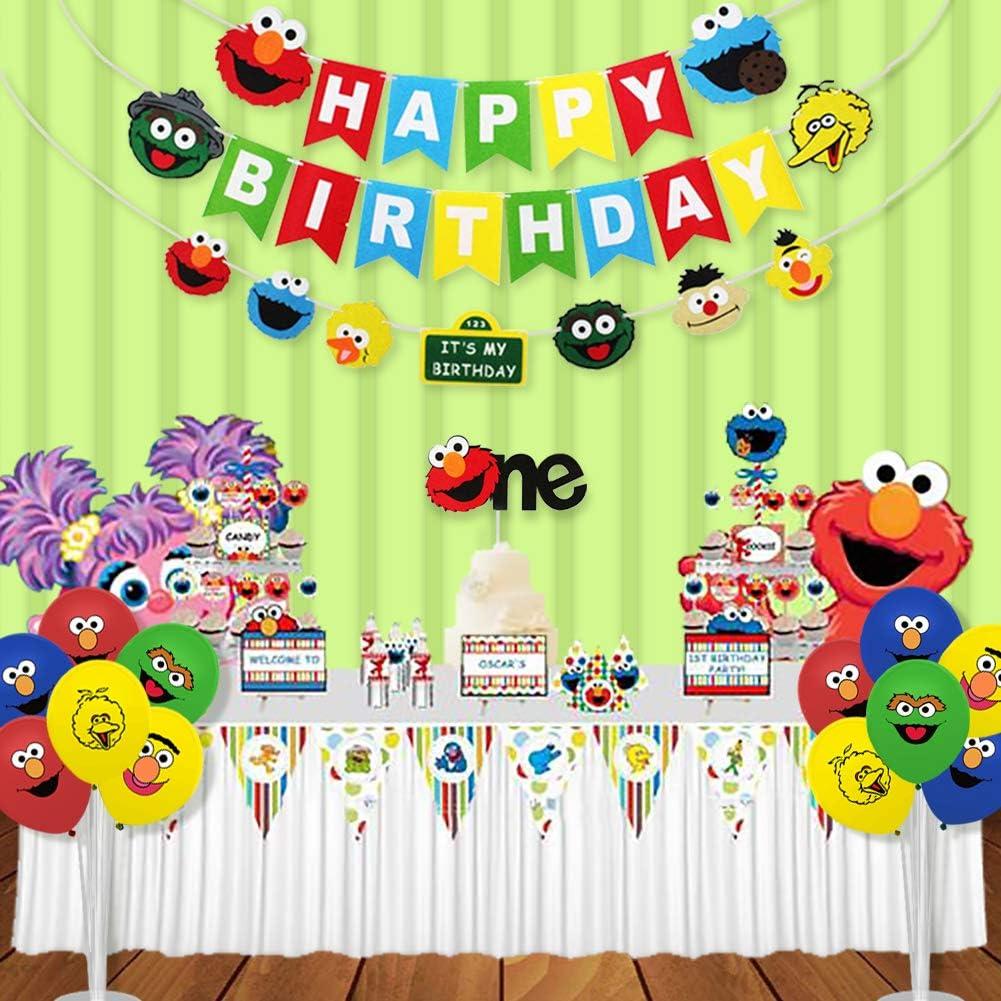 Sasame Theme Party Backdrop Custom Birthday Backdrop  N-T60-TP AA2 Kids Birthday Banner Birthday Party Decor Sesame Birthday Party