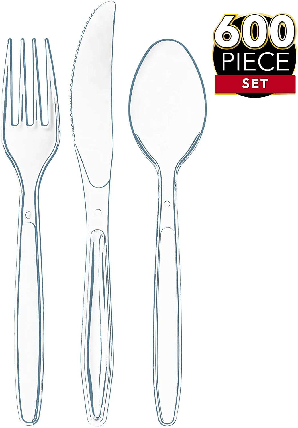 600 Clear Plastic Silverware Set | Disposable Plastic Utensils | 300 Plastic Forks, 200 Plastic Spoons, 100 Plastic Knives | Plastic Cutlery Set | Heavy Duty Bulk Flatware Set