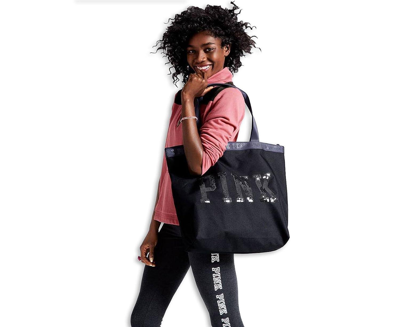Victoria's Secret Pink Sequins Logo zipper close Black Tote Bag